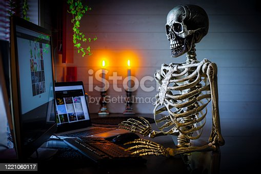 Skeleton at office desk, worked to hard. Spooky feeling  Images on computers in the picture i my own, those are at my website