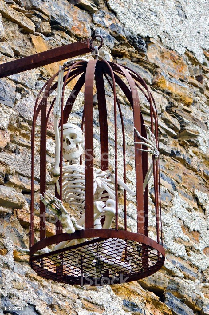 Menschliches Skelett in einem Käfig – Foto