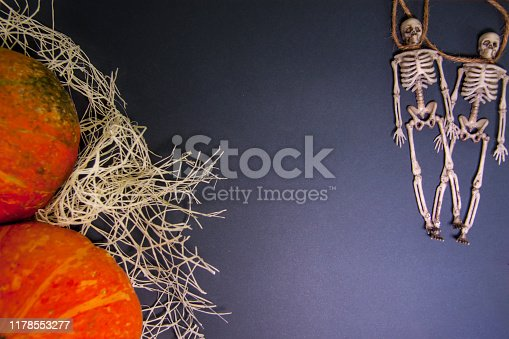 istock Human skeletons on a rope on a dark background. The day of the Dead. 1178553277