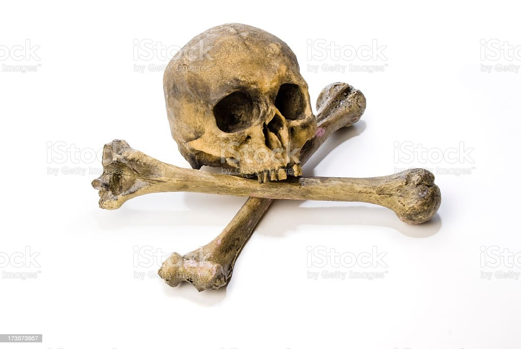 Human skull and cross bones on a white background stock photo