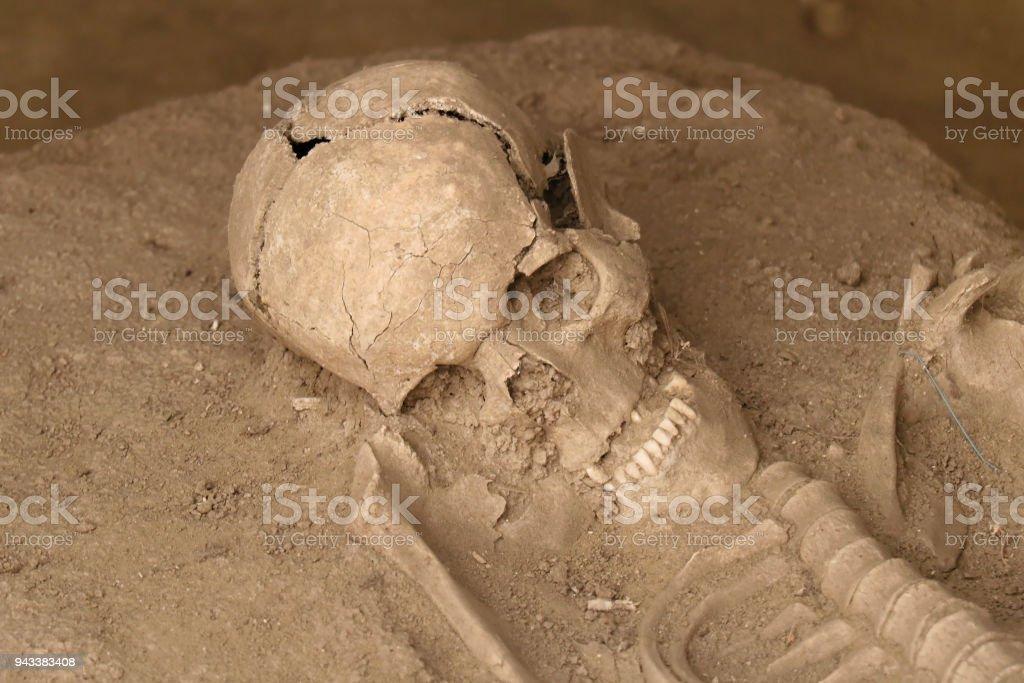 Human skull in sand stock photo