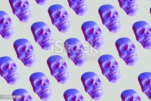istock human skull lollipops pattern in neon colors 1177358150