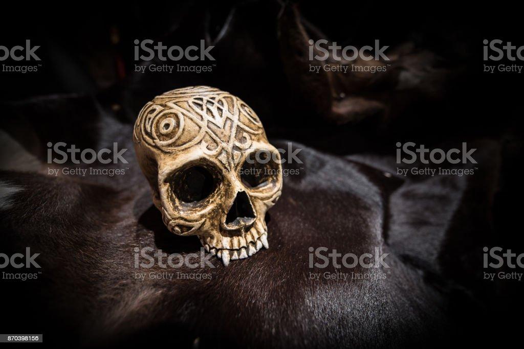 Human skull Model on cow skin texture stock photo