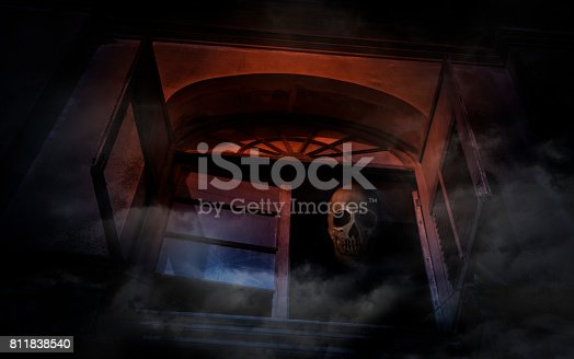 istock Human skull on old ancient window castle, Spooky background, Halloween concept 811838540