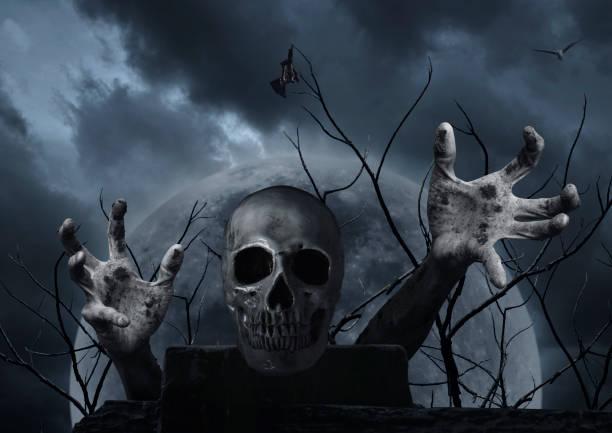 menschlicher schädel an alte ruine wand mit zombiehand, fledermaus, vogel, toter baum über vollmond und bewölkten himmel, halloween abstraktes konzept - skelett hand stock-fotos und bilder