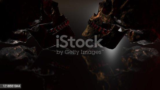istock Human skull with dark background. Death, horror, anatomy and halloween symbol. 3d rendering, 3d illustration 1218551944