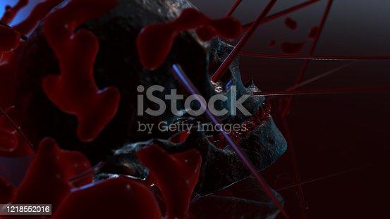 istock Human skull with dark background. Death, horror, anatomy and halloween symbol. 3d rendering, 3d illustration 1218552016
