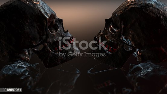 istock Human skull with dark background. Death, horror, anatomy and halloween symbol. 3d rendering, 3d illustration 1218552051