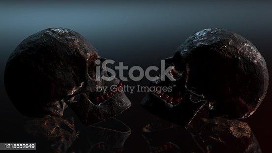 istock Human skull with dark background. Death, horror, anatomy and halloween symbol. 3d rendering, 3d illustration 1218552649