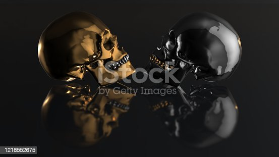 istock Human skull with dark background. Death, horror, anatomy and halloween symbol. 3d rendering, 3d illustration 1218552675