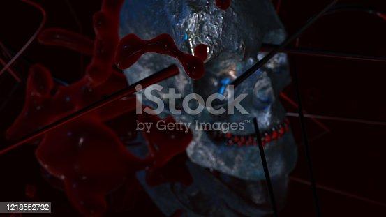 istock Human skull with dark background. Death, horror, anatomy and halloween symbol. 3d rendering, 3d illustration 1218552732