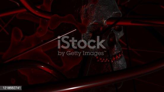 istock Human skull with dark background. Death, horror, anatomy and halloween symbol. 3d rendering, 3d illustration 1218552741