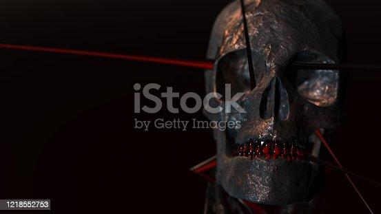 istock Human skull with dark background. Death, horror, anatomy and halloween symbol. 3d rendering, 3d illustration 1218552753