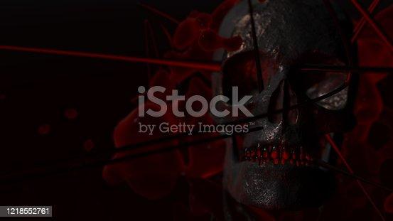 istock Human skull with dark background. Death, horror, anatomy and halloween symbol. 3d rendering, 3d illustration 1218552761
