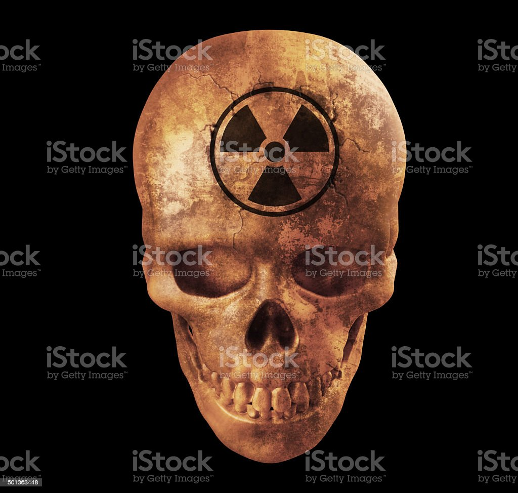 Human skull with nuke sign stock photo