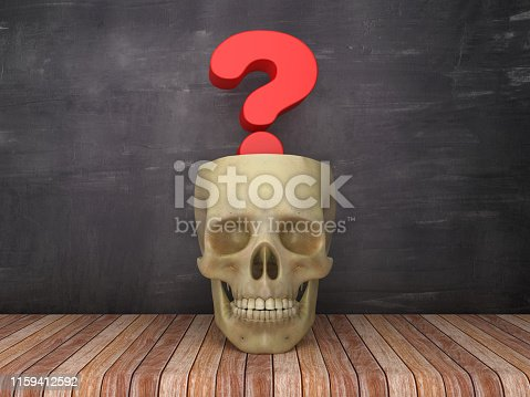 Human Skull with Question Mark on Chalkboard Background - 3D Rendering