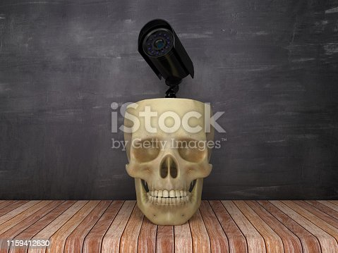 Human Skull with Security Camera on Chalkboard Background - 3D Rendering