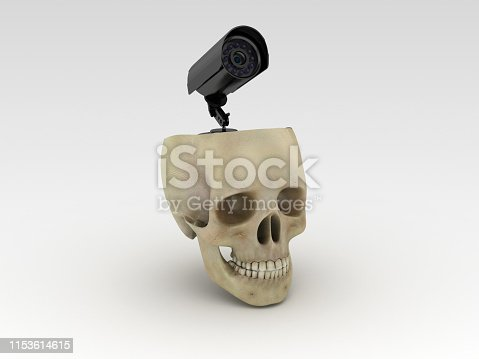 Human Skull with XXX - Gray Background - 3D Rendering