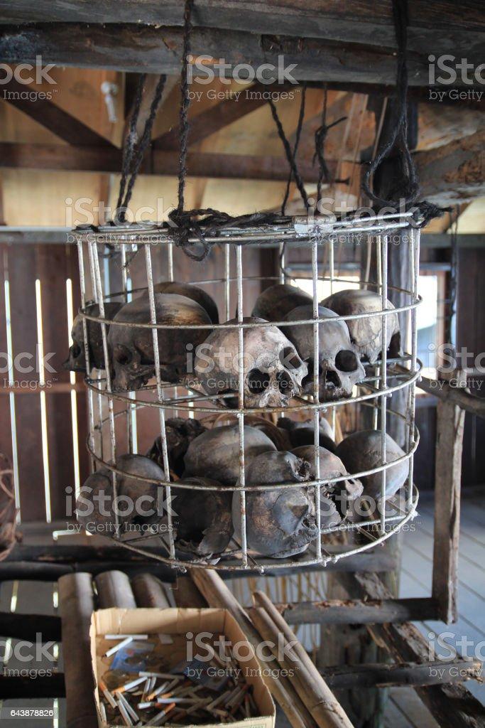 Human skulls collection in Longhouse at Sarawak, Malaysia stock photo