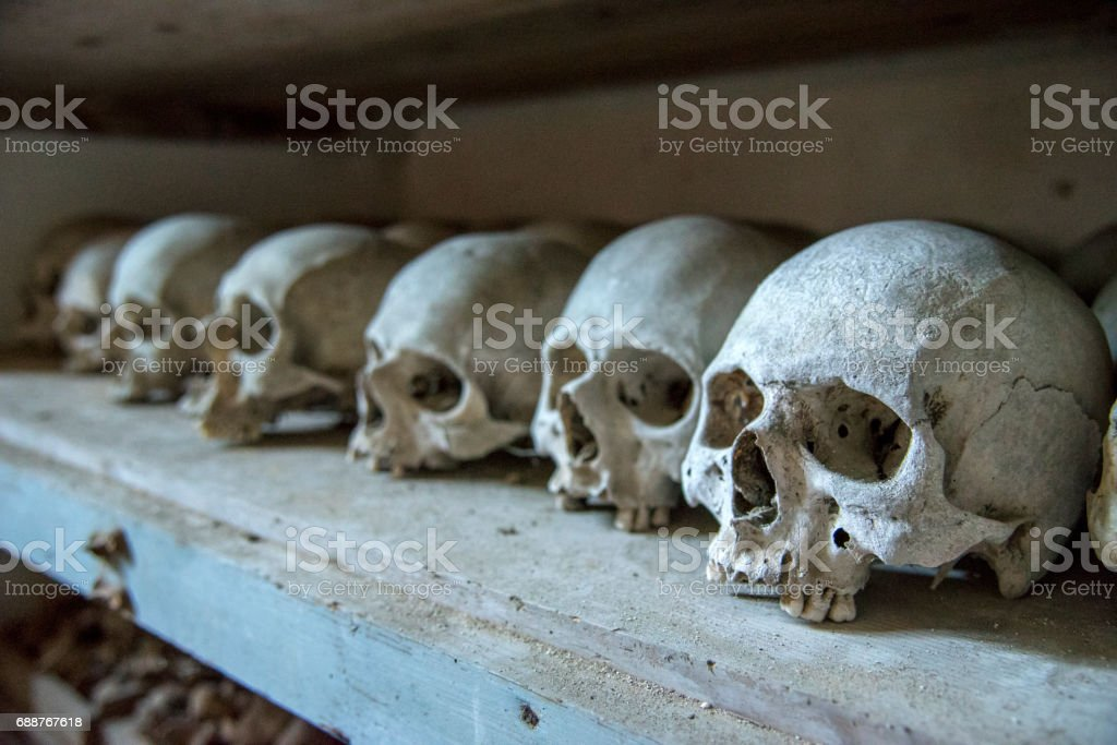 Human skulls, remains of deceased monks, Mount Athos stock photo