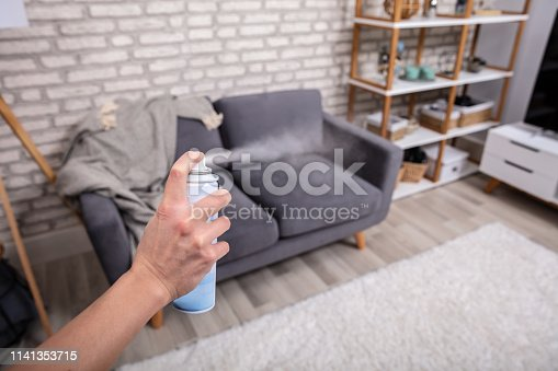 Close-up Of A Human's Hand Spraying Air Freshener In Living Room
