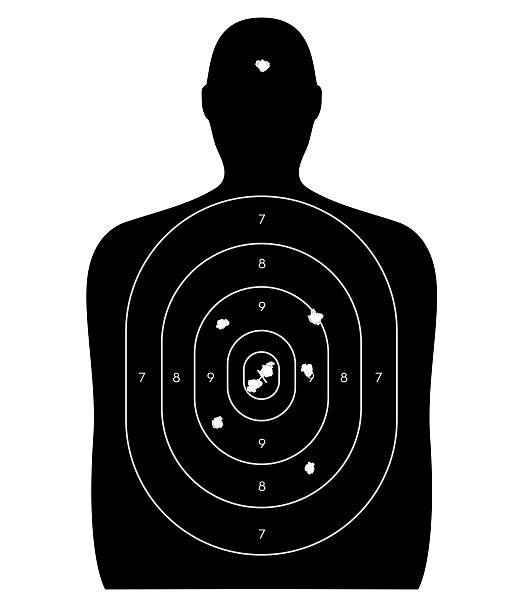 ludzka tarcza z otworami po pocisku - tarcza broń zdjęcia i obrazy z banku zdjęć
