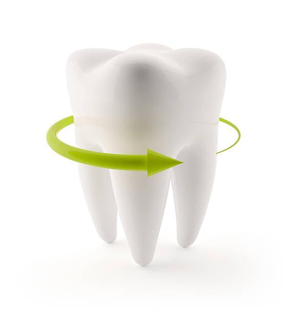3D Human Teeth with green arrow stock photo