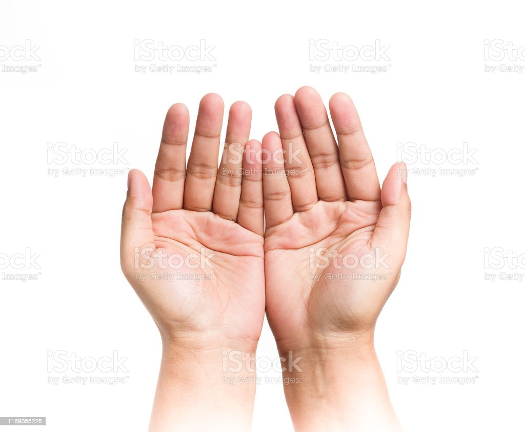 Human Two Hands Are Extended To The Front And Open Palm Stock ...