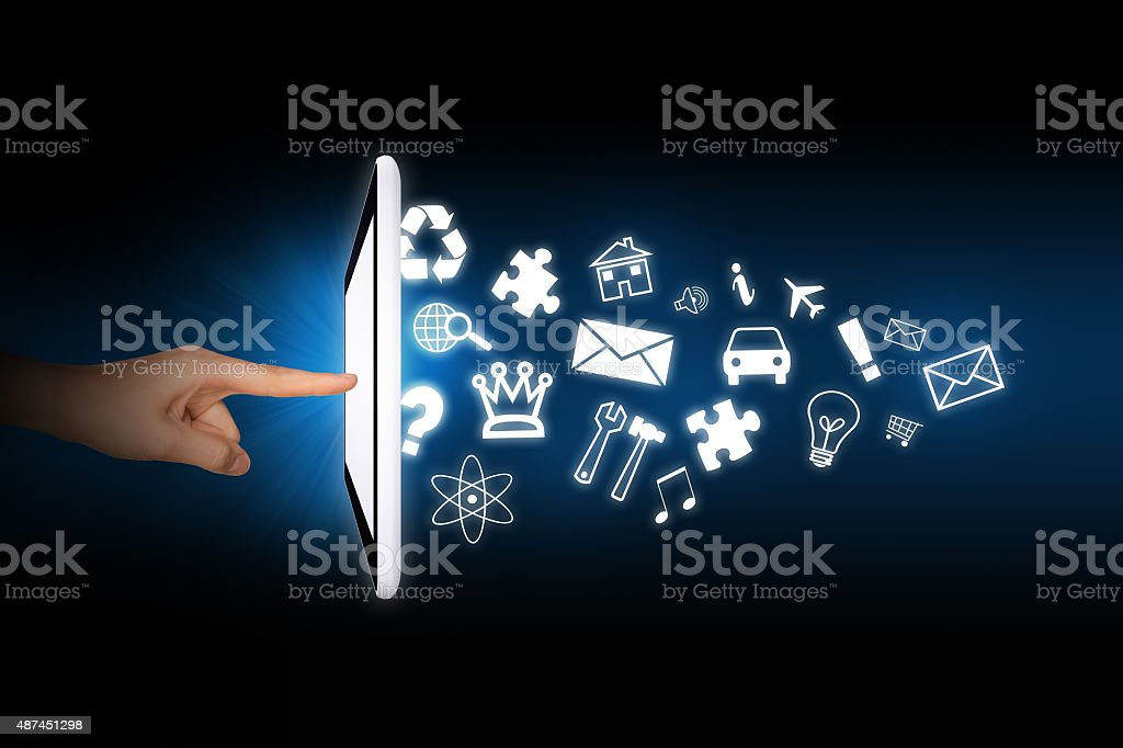 Human using tablet stock photo