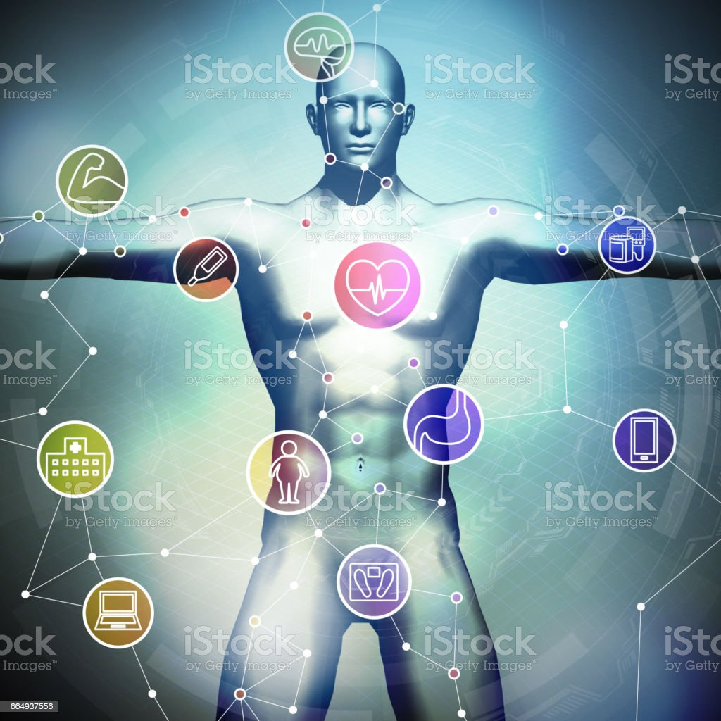 human vital sign and wireless network, 3D illustration, abstract image visual stock photo