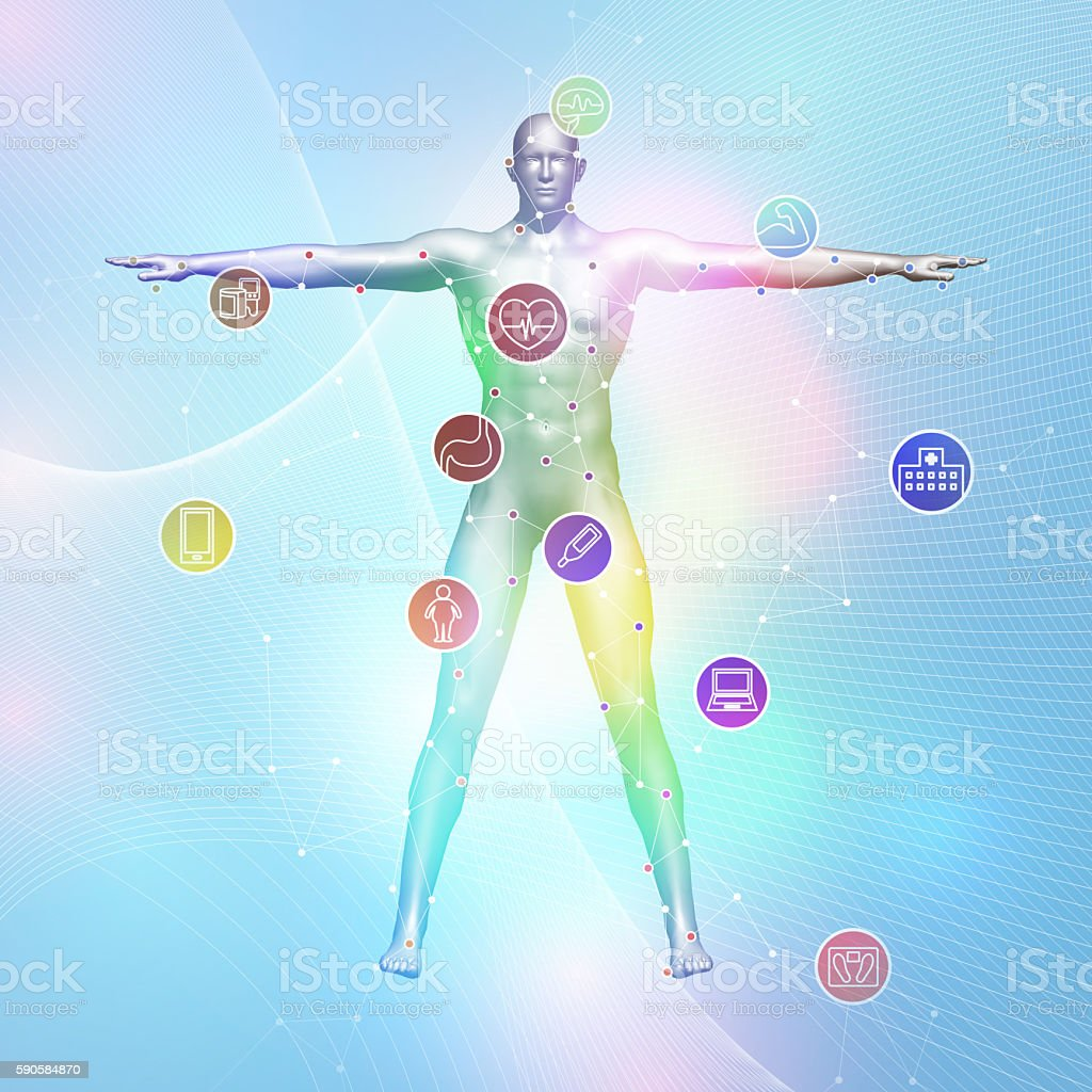 human vital sign and wireless network, 3D illustration stock photo
