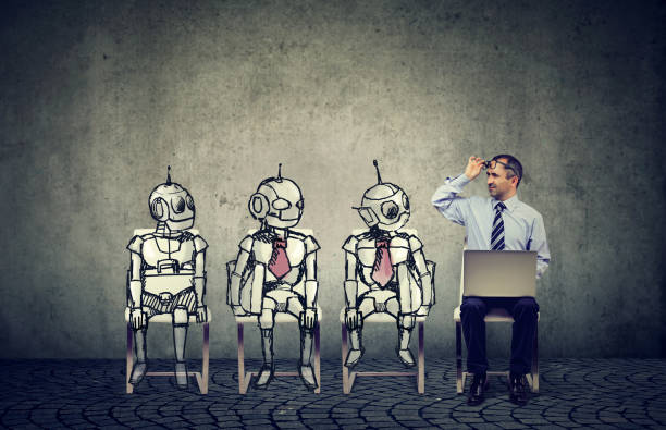 human vs artificial intelligence concept. - cybernetic stock pictures, royalty-free photos & images