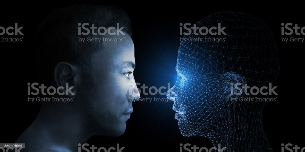 Menschen gegen virtuelle Frau – Foto
