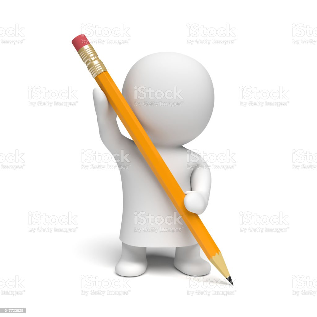human white 3d person wearing a gown holding a big yellow pencil stock photo