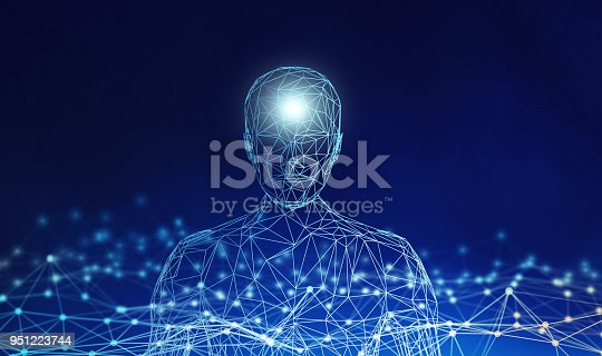 istock Human. Wireframe model with connection lines on blue background, artificial intelligence in futuristic technology concept, 3d illustration 951223744
