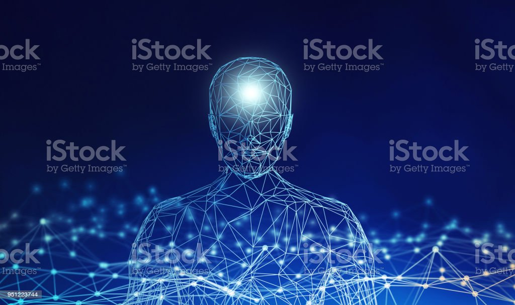 Human. Wireframe model with connection lines on blue background, artificial intelligence in futuristic technology concept, 3d illustration – zdjęcie