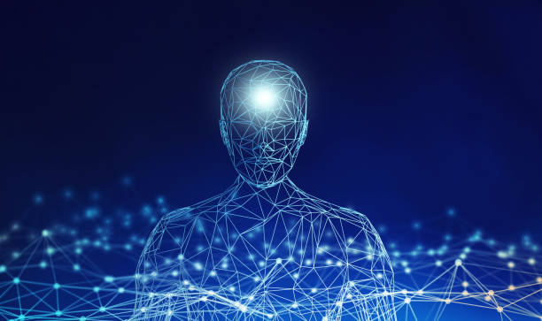 Human. Wireframe model with connection lines on blue background, artificial intelligence in futuristic technology concept, 3d illustration stock photo