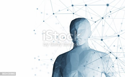 istock Human. Wireframe model with connection lines on white background, artificial intelligence in futuristic technology concept, 3d illustration 953435860