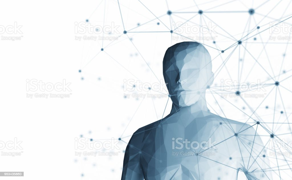 Human. Wireframe model with connection lines on white background, artificial intelligence in futuristic technology concept, 3d illustration – zdjęcie