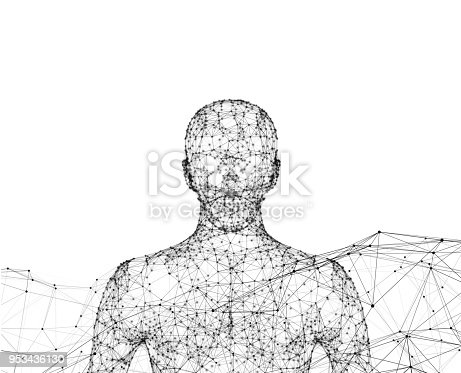 istock Human. Wireframe model with connection lines on white background, artificial intelligence in futuristic technology concept, 3d illustration 953436130