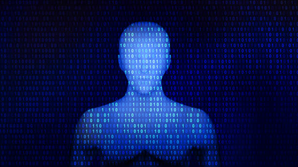 Human with 01 or binary data on the computer screen, artificial intelligence in futuristic technology concept, 3d illustration stock photo
