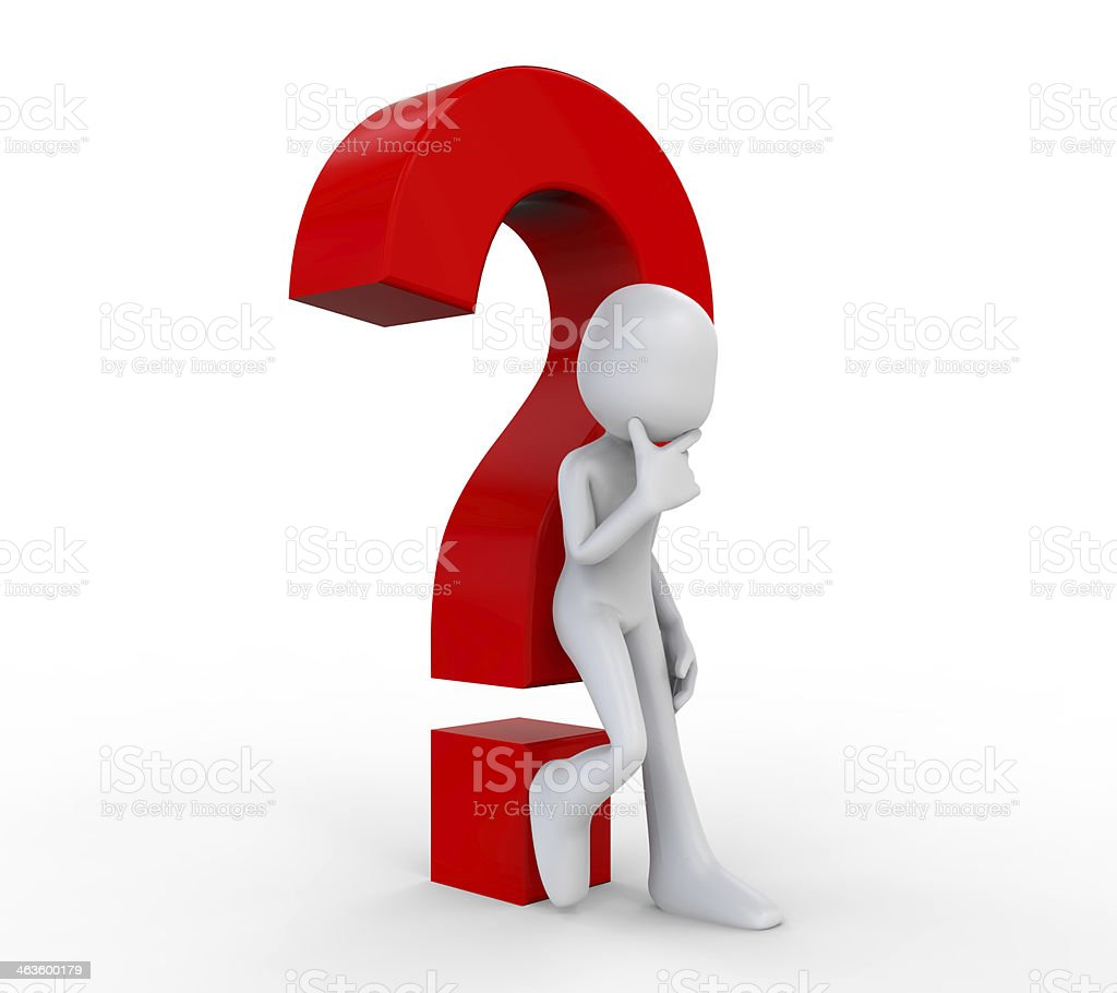 3D Human with a Question Mark royalty-free stock photo