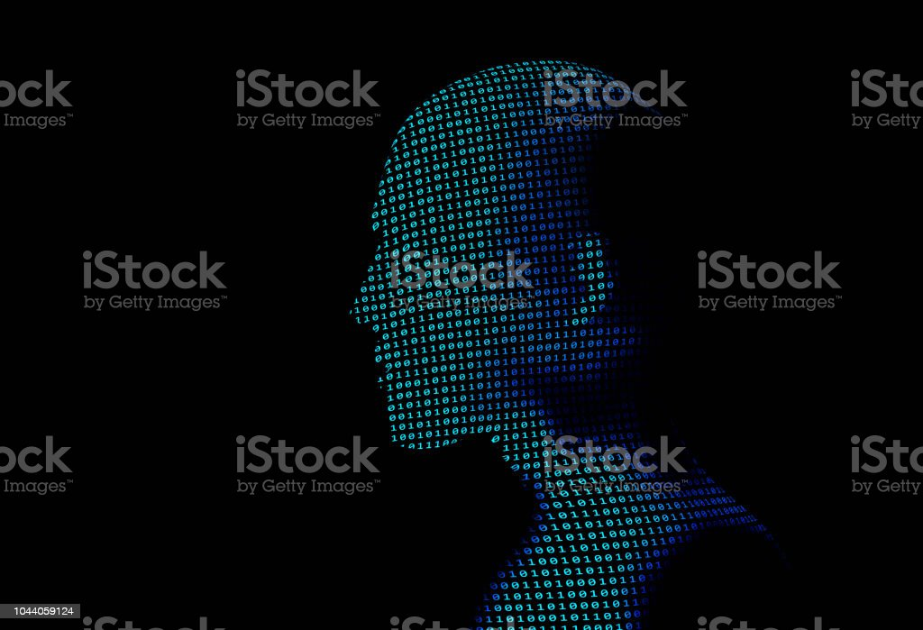 human with binary data code number on black background. Artificial intelligence high-tech in digital computer technology concept. 3d illustration. - foto stock