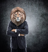 Humanoid Lion - Lion head on man in a suit - Image manipulation