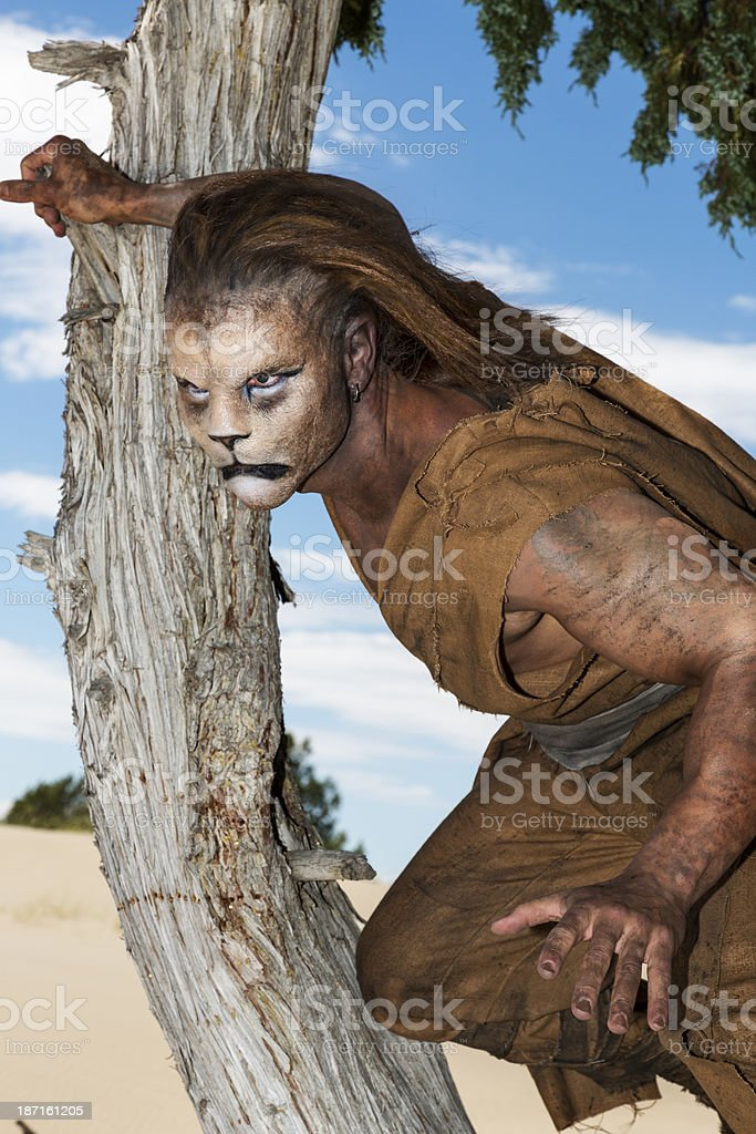 Humanoid Lion in a tree ready to pounce royalty-free stock photo