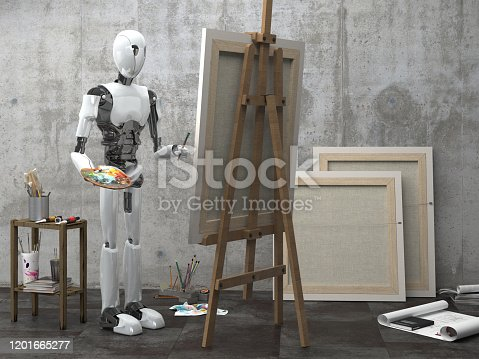 910163152 istock photo A humanoid robot artist paints a picture in an art workshop. Future concept with smart robotics and artificial intelligence. 3D rendering. 1201665277