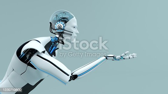 Humanoid robot assistant at your service. 3d illustration.