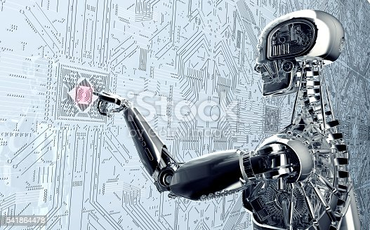 istock humanoid robot clicking network computer 541864478