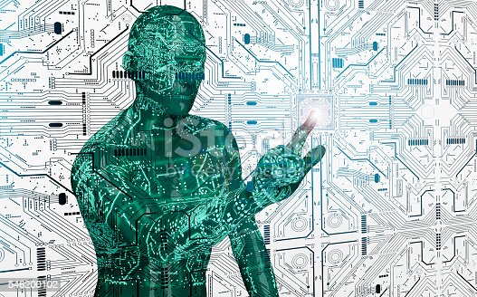 istock humanoid robot clicking network computer 546200102