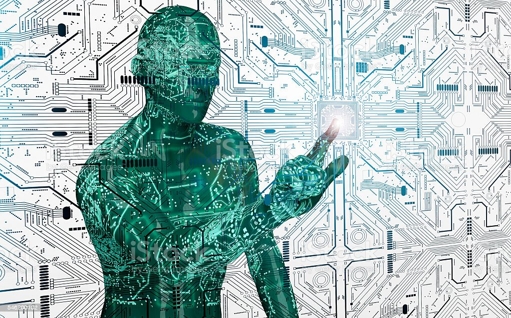 humanoid robot clicking network computer stock photo